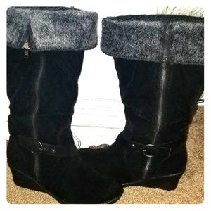 Black suede boots by Torrid size 12